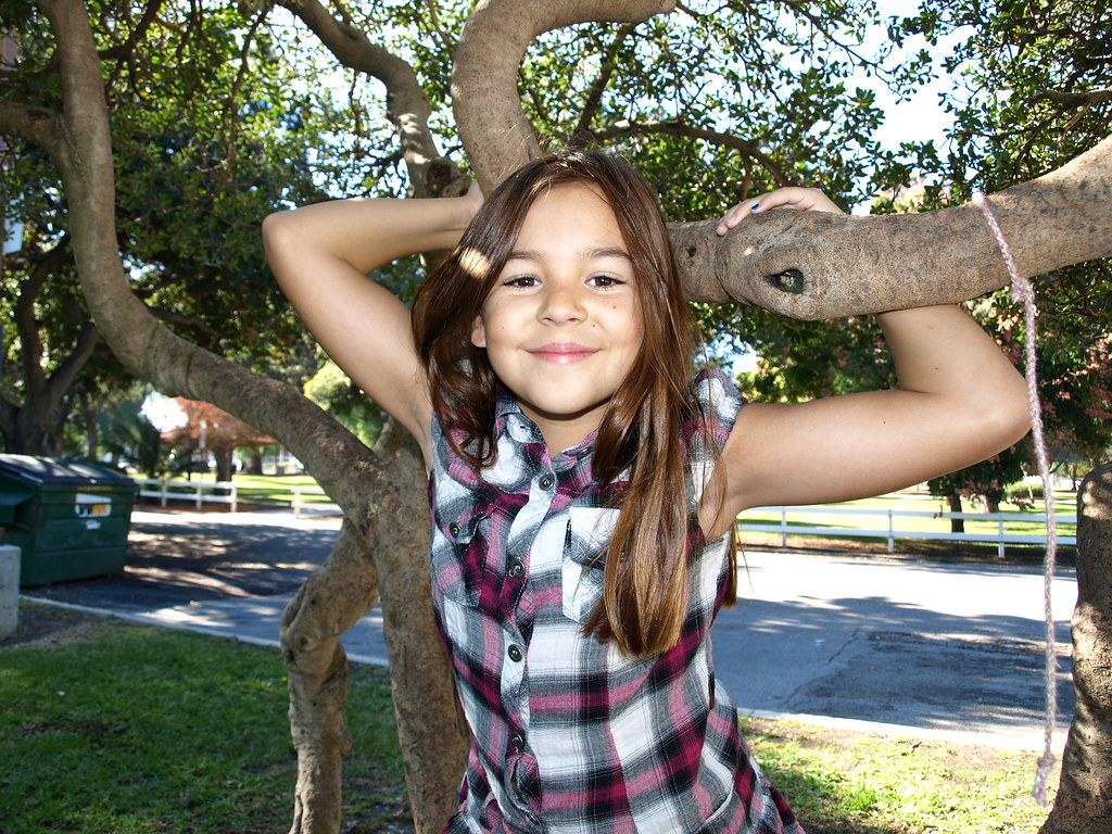 Tween Girl Climbing Tree At The Park  10 Year Old Girl -3418