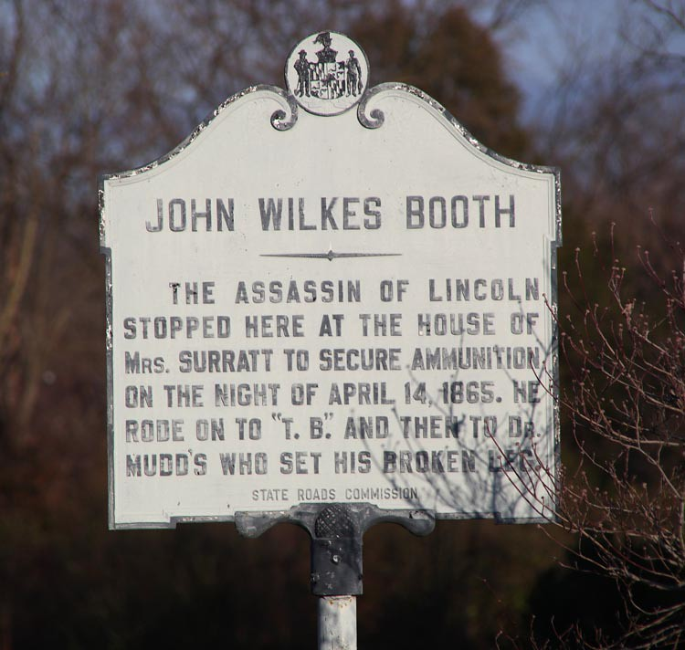John Wilkes Booth Marker Mary Surratt House State Of