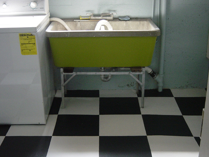 Laundry Room Painted Floor And Wash Tub This Client
