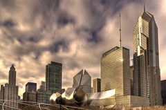 Jay Pritzker Pavilion and Loop skyline