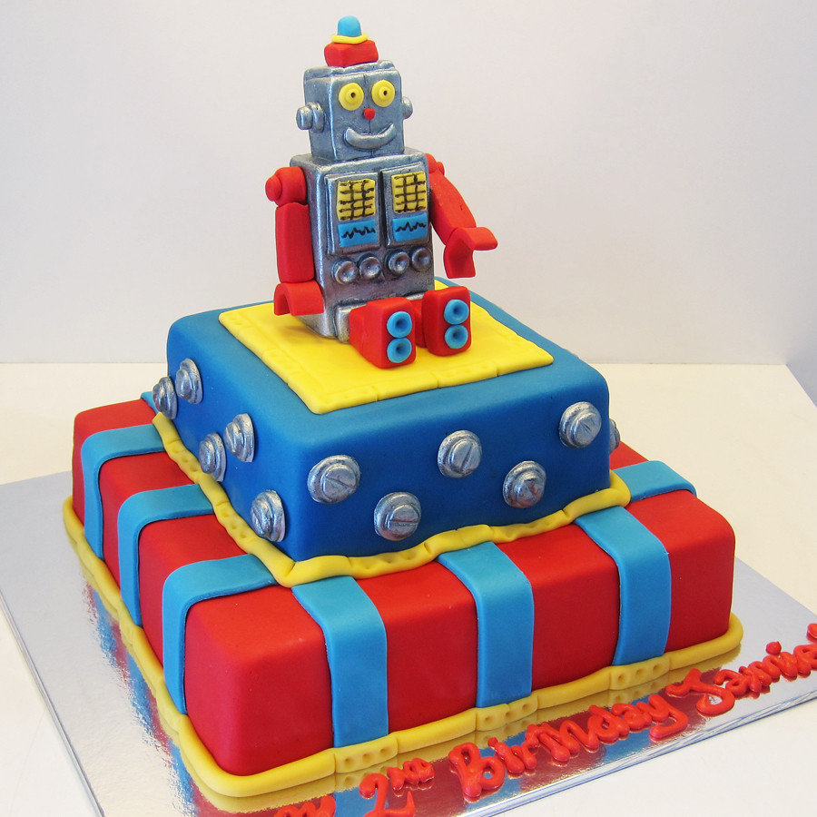 Blue And Red Birthday Cake
