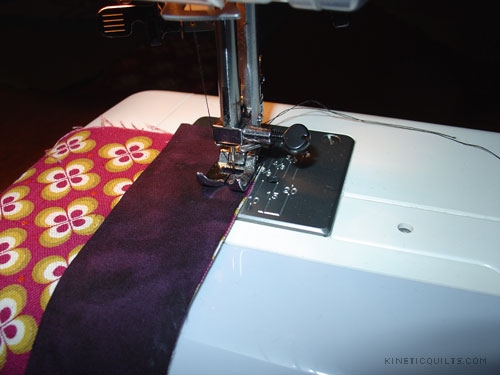 Body Pillow - sewing a batik to Ruby Star | by Kinetic Quilts