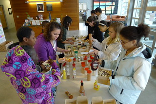 "Students participating in an ""Invent Your Own Popcorn"" Activity at the Foster Center for Student Innovation 