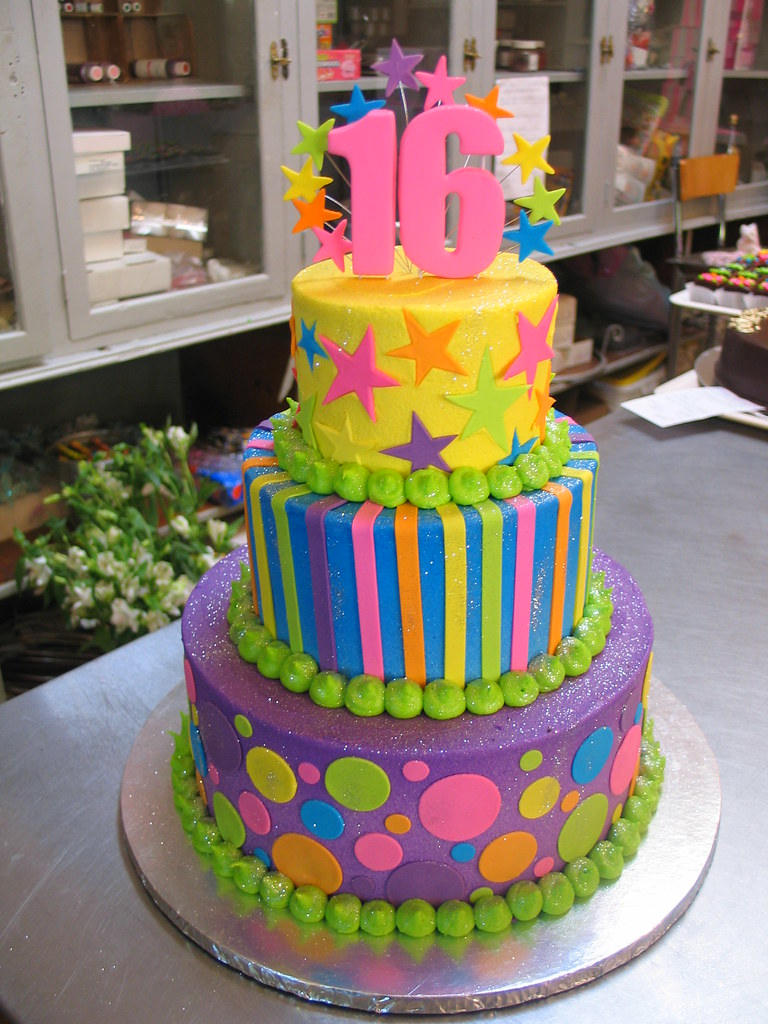 3 Tier Wicked Chocolate Cake Iced In Purple Blue Amp Yellow