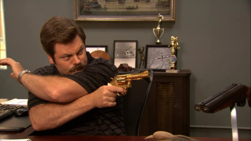 the boss with the golden gun ron swanson bad ass from