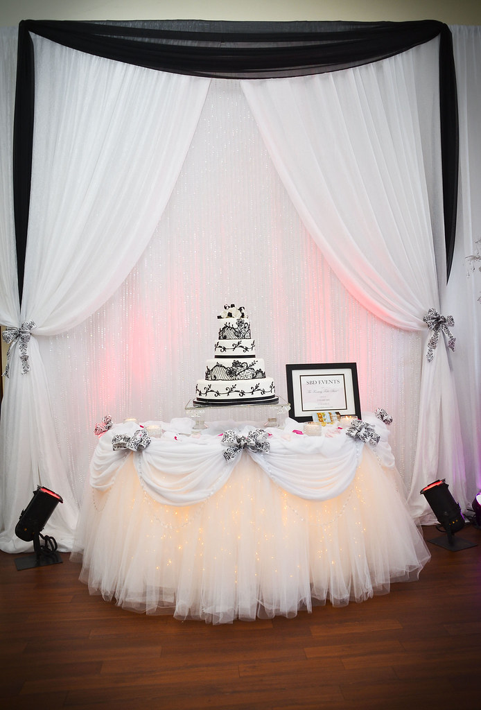 Black And White Cake Table Decor By Sbd Events Backdrop