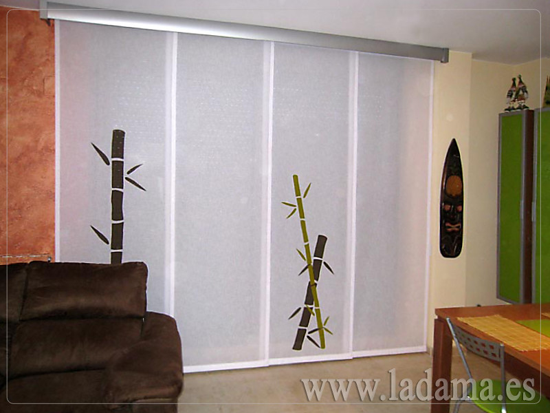 Decoraci n para salones modernos cortinas paneles japone - Estores screen el corte ingles ...