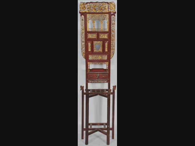 Chinese Carved Painted Wood Lacquer Panels