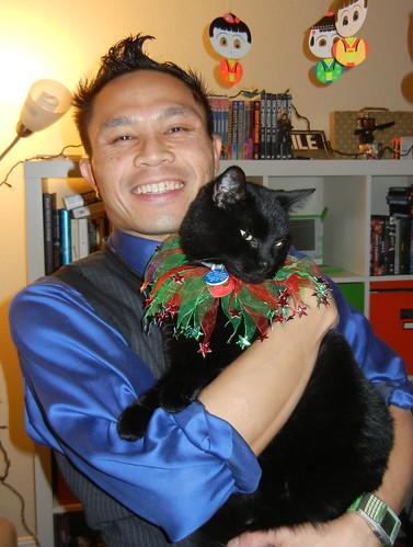 Rik with Mole the Christmas kitty | by rikomatic
