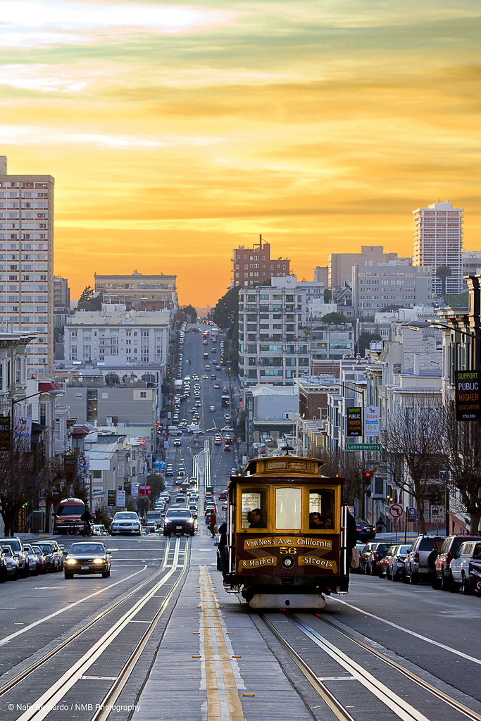 Sunset Down California Street A Cable Car Rolls Down