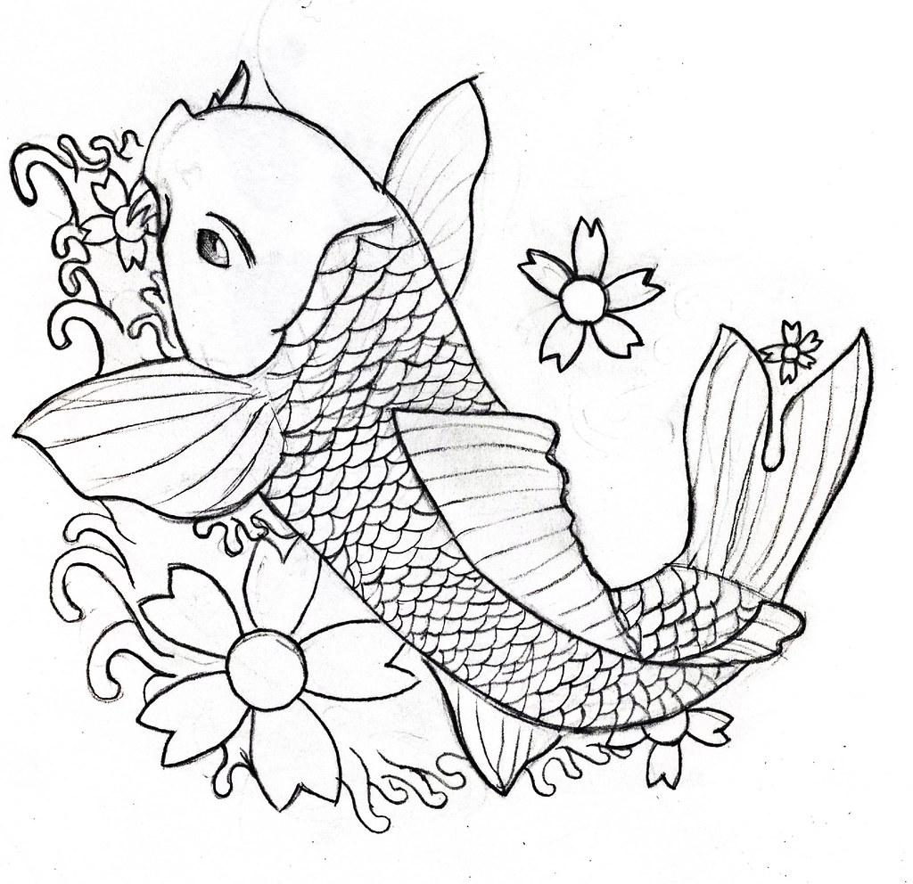Line Drawing Painting : Line drawing koi carp stewart honeyman flickr