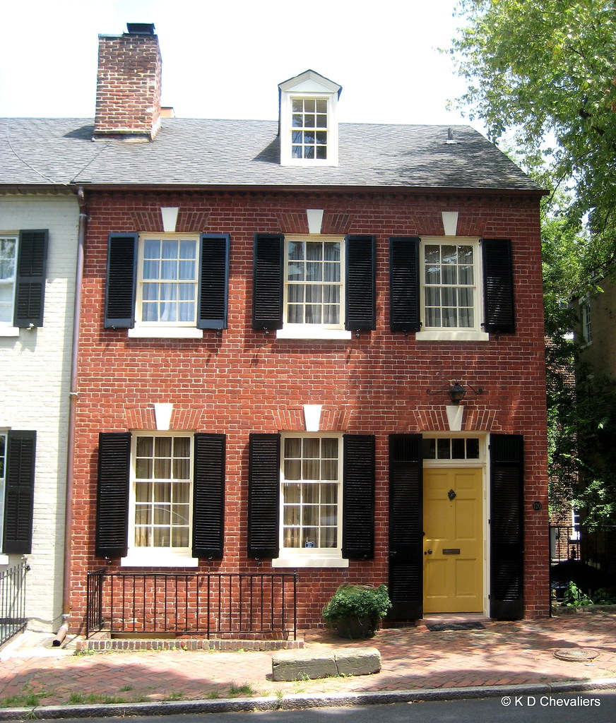 New Brick Homes: Old Town Alexandria Brick House With Yellow Door