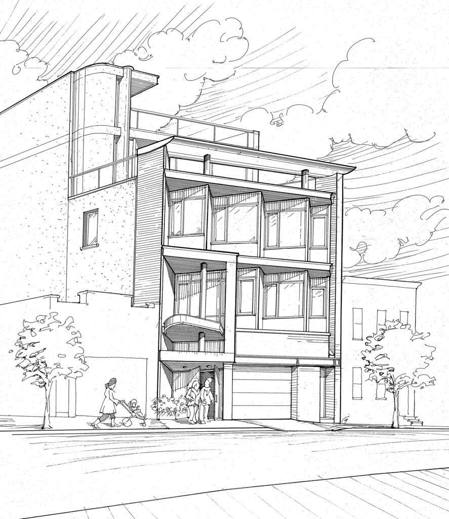Drawing Lines In Office : Brooklyn office building preliminary bw