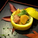 Couse 2: Yuzu filled with chunks of persimmon, scallop, toro all tossed in miso yuzu dressing.