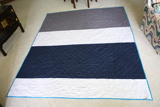 Colorblock back on zig-zag quilt | by meguerite