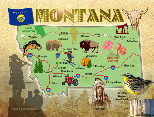 Montana State Map Postcard Map Of Montana The Big Sky