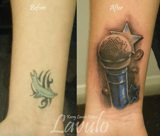 Tattoo Ideas Kerry: Tattoo-cover-forearm-star-coins-mic-mike-sm58-microphone