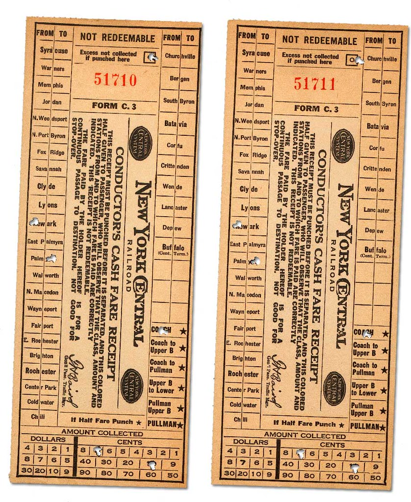 New York Central Fare Receipts Form C 3 1930s Bought