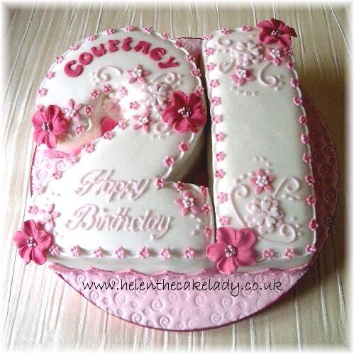 21st Shaped Pink Flowers Cake Helen Flickr