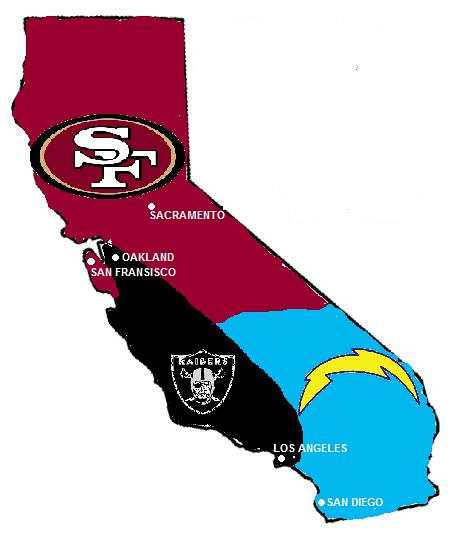 California Nfl Map A Map Of Football Fans In The State