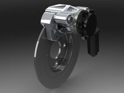 Electric Parking Brake Design Motor On Caliper 3 D Cad