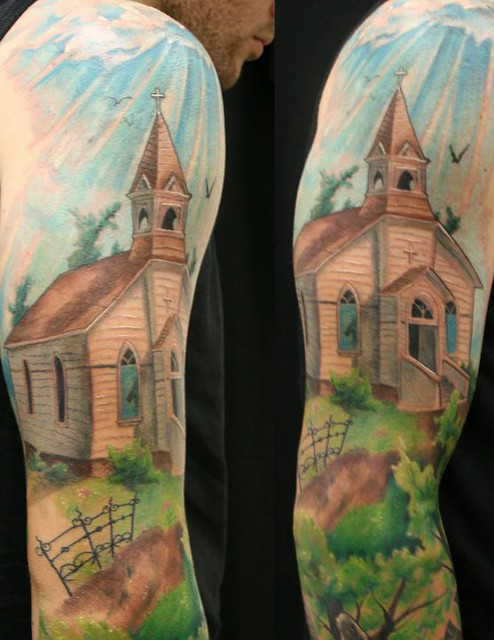 Church christian sleeve tattoo by jackie rabbit flickr for Tattoos catholic church