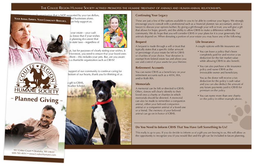 Brochure coulee region humane society planned giving for Planned giving brochures templates