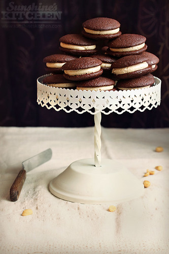 Chocolate whoopie pies with peanut butter filling | by Irina Kupenska