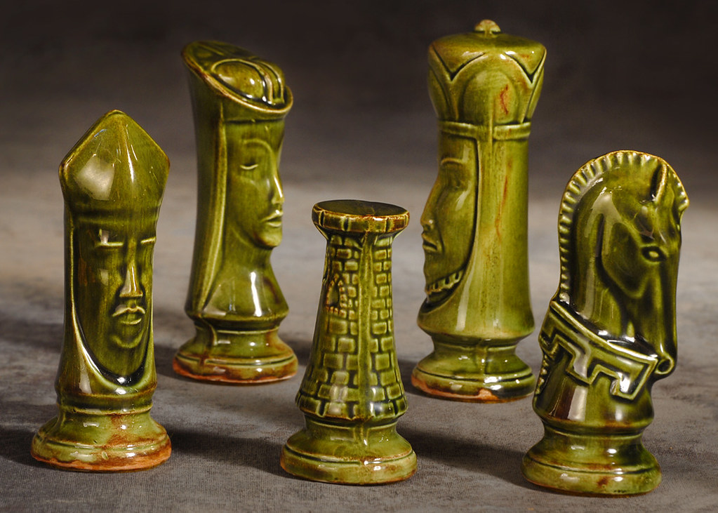 Mid Century Ceramic Chess Pieces This Is A Close Up Of A