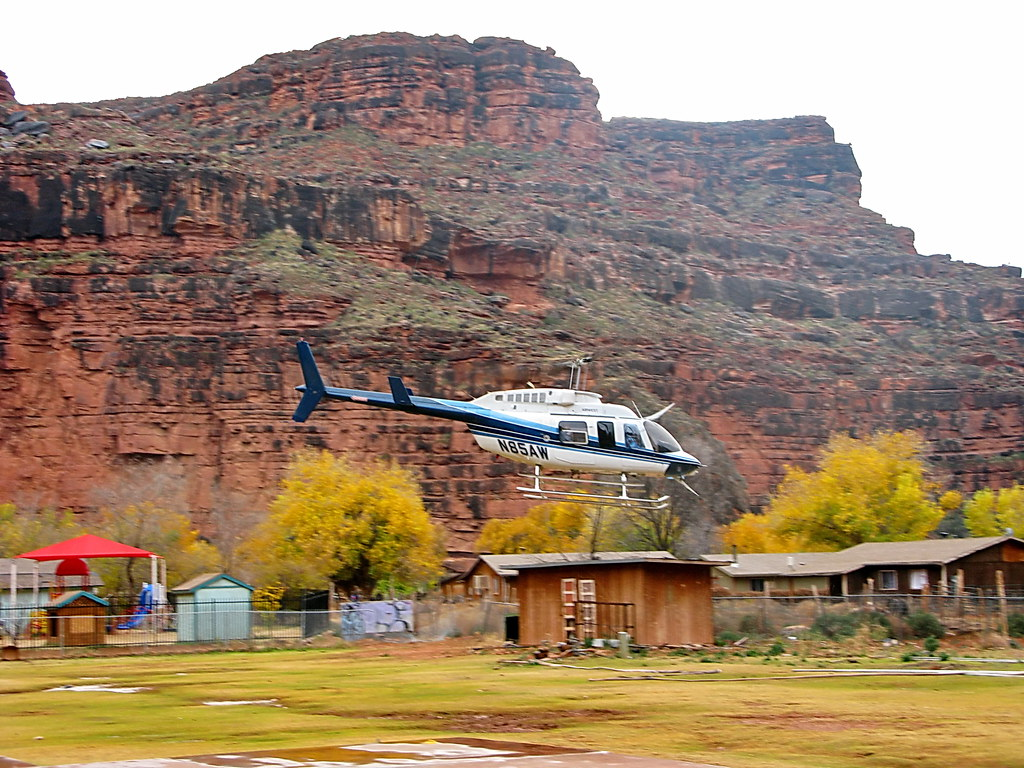 Everything Goes White >> Airwest Helicopter N85AW taking off in the rain from Supai… | Flickr