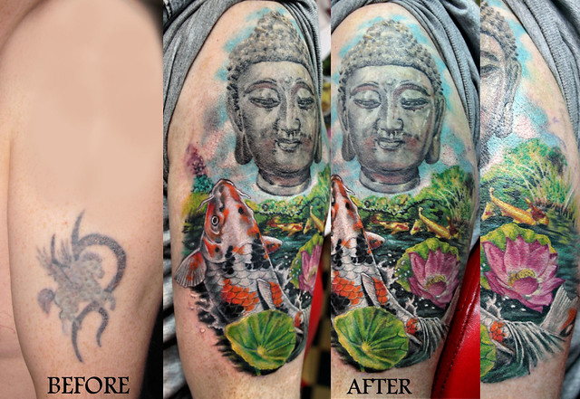Cover up with buddha tattoo by mirek vel stotker