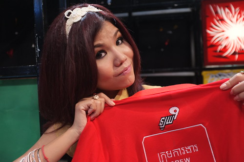 Loy9 Tv Show - Meas Soksophea with Loy9 Crew shirt Jan'12 | by United Nations Development Programme