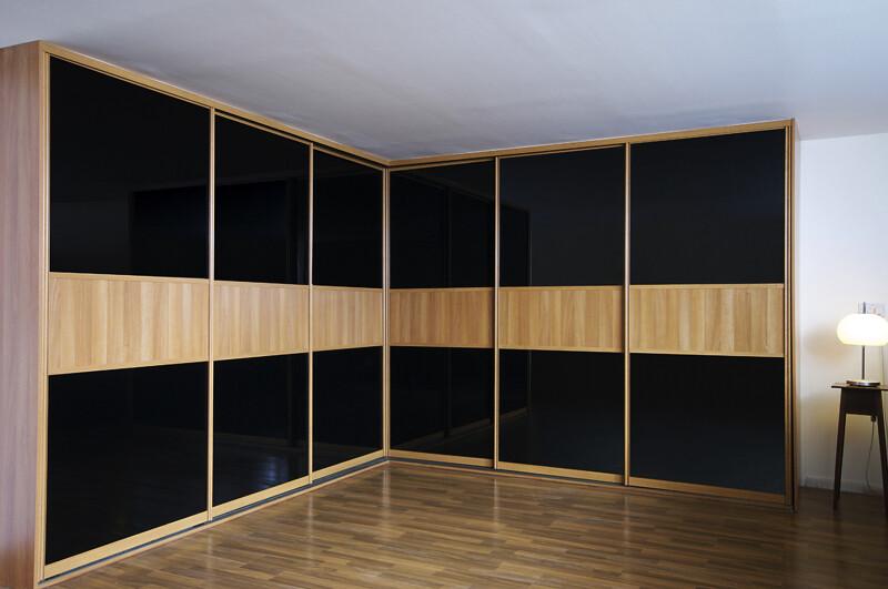 Fitted Sliding Wardrobe Black Glass Mans Bedroom Corner