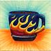 I drew you a blue mug of coffee with Flames on it
