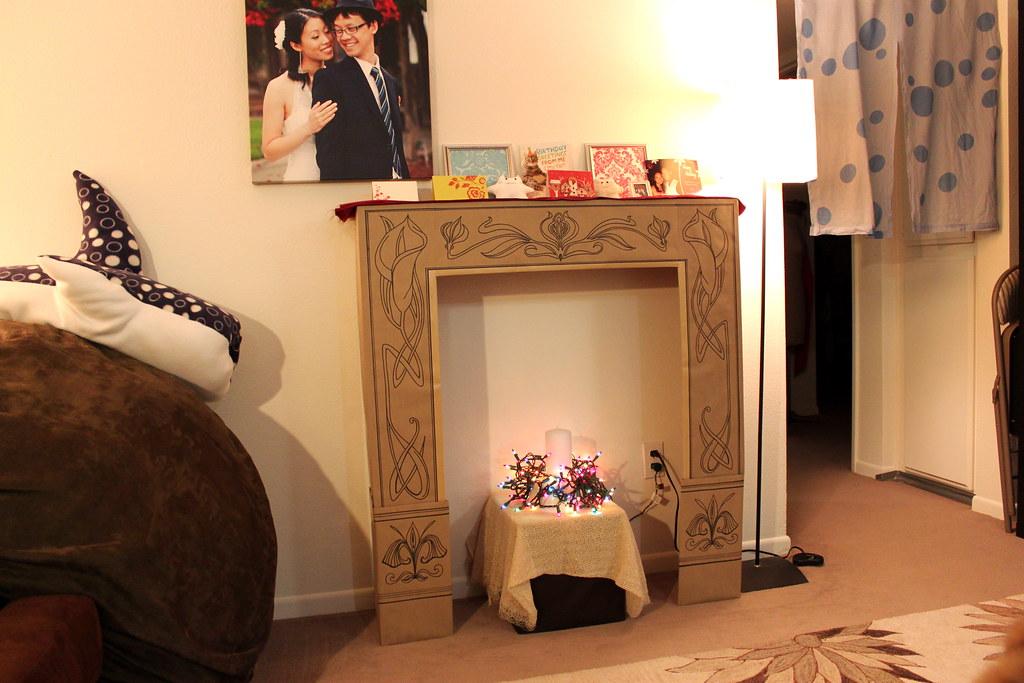 Diy Cardboard Faux Fireplace I Rescued A Cardboard Box