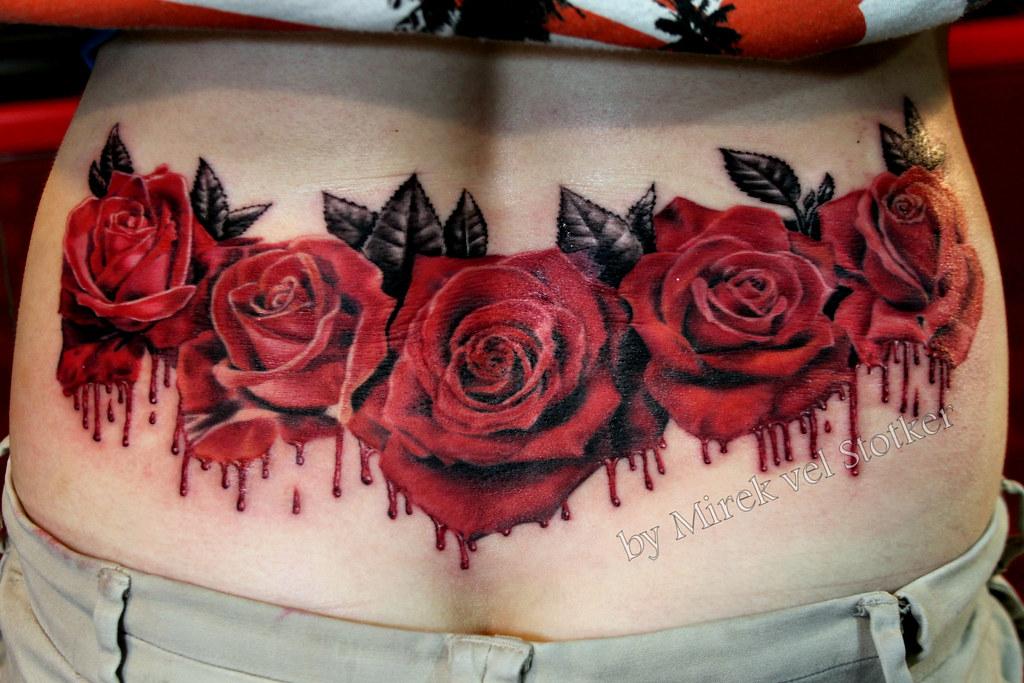 Bleeding Roses Tattoo By Mirek Vel Stotker Stotker Flickr