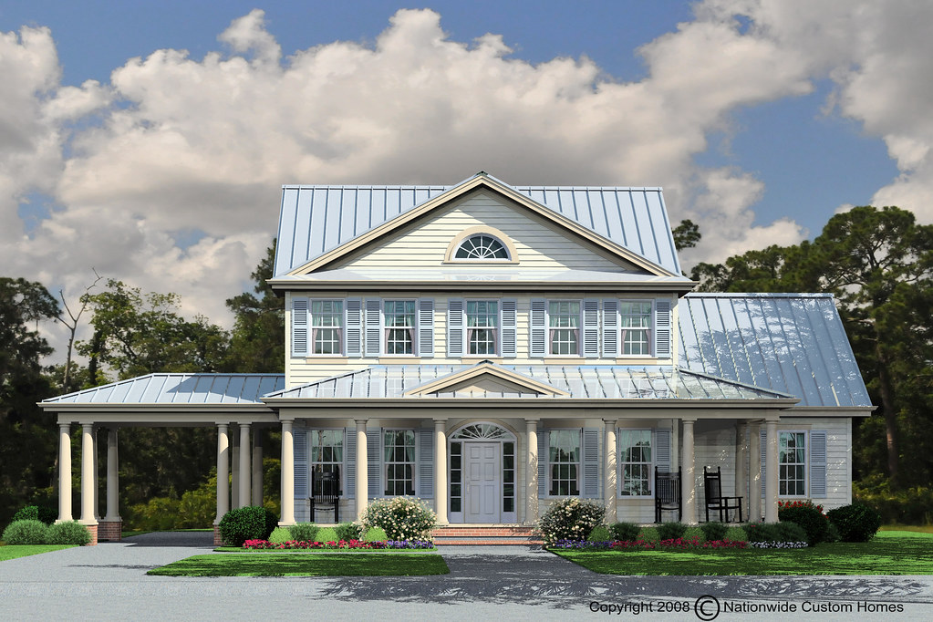 Savannah coastal with metal roof nationwide homes flickr for Metal roof home plans