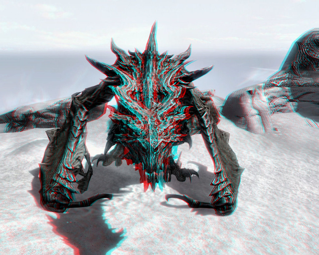 Skyrim Imagery Dragon Alduin Humbled 3d Anaglyph Flickr