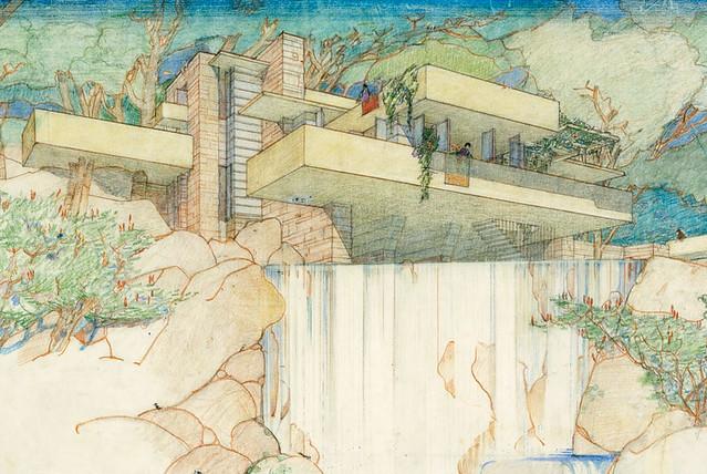 Frank loyd wright la casa sulla cascata disegno 1935 for Frank lloyd wright casa della prateria