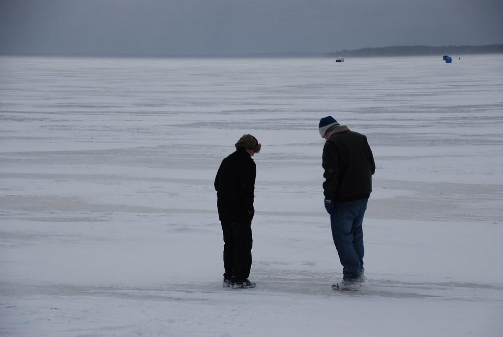 Ice fishing on houghton lake michigan during tip up town for Ice fishing michigan