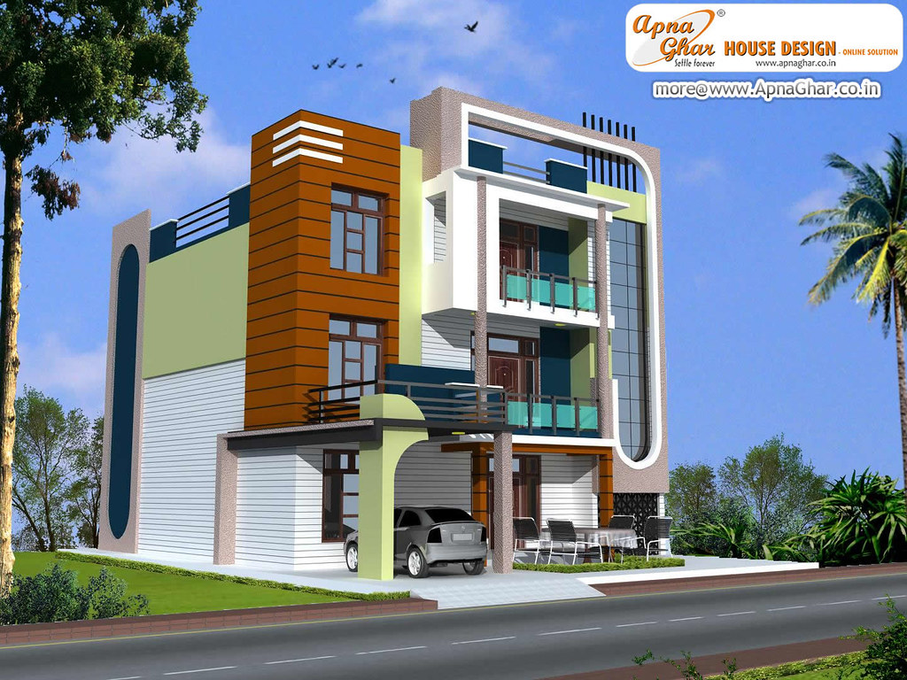Front Elevation Of Triplex Houses : Triplex house design beautiful in