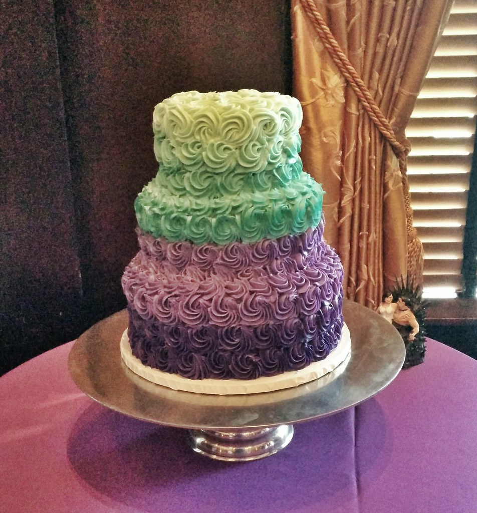 Teal and Purple Ombre Rosette cake | Custom cake orders REQU… | Flickr