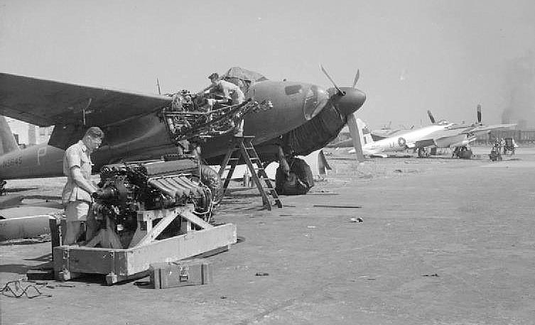 Fitters Of No 684 Squadron Raf Prepare To Install A New R