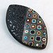 Handmade Black Textured Polymer Clay and Earth colors Klimt Brooch