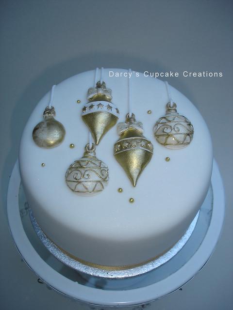 Gold amp White Bauble Cake Explore Darcys Cupcake