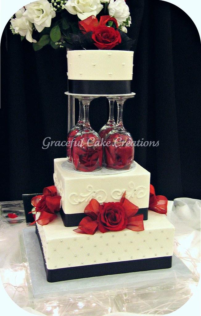 Elegant White, Black and Red Wedding Cake | Grace Tari ...