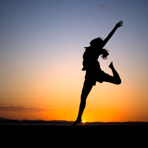 jumping silhouette at sunset