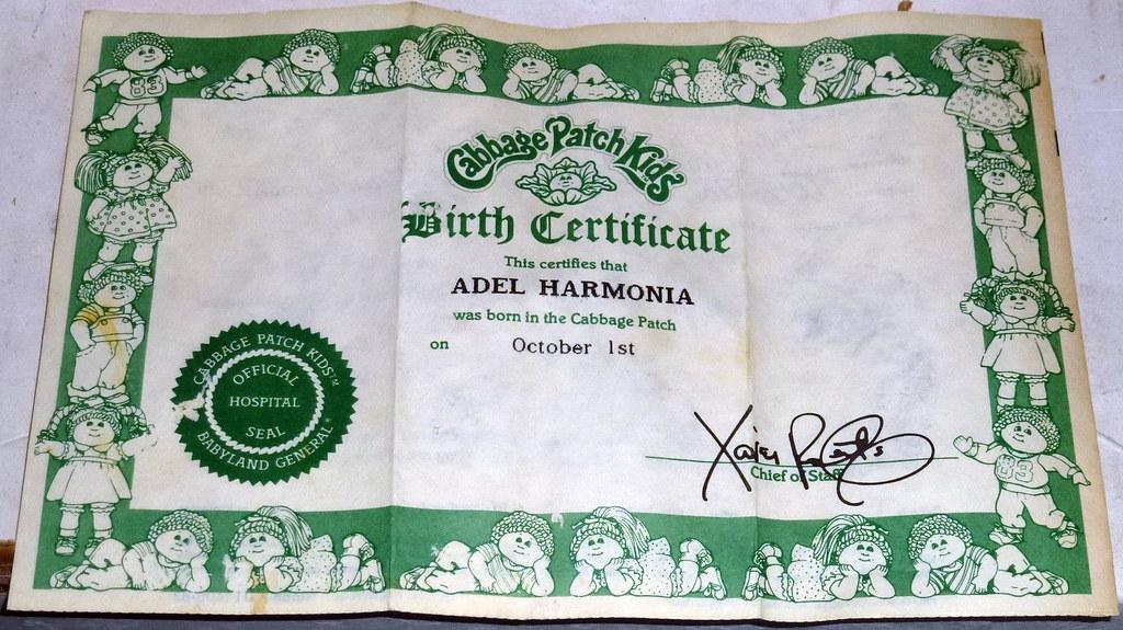 Cabbage patch kids birth certificate david valenzuela flickr for Cabbage patch doll birth certificate