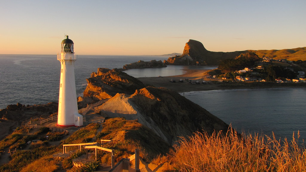 Castlepoint Lighthouse And The Castle Rock Morning