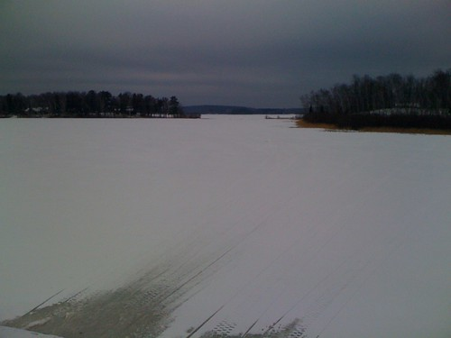 Lake Namekogan looking east - note the snowmobile tracks coming out from under the bridge | by kartoone76